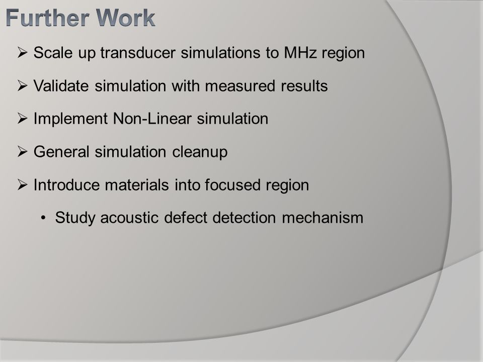 Scale up transducer simulations to MHz region Validate simulation with measured results Implement Non-Linear simulation General simulation cleanup Int