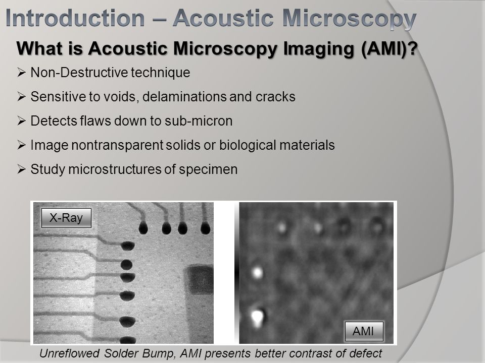 What is Acoustic Microscopy Imaging (AMI)? Non-Destructive technique Sensitive to voids, delaminations and cracks Detects flaws down to sub-micron Ima