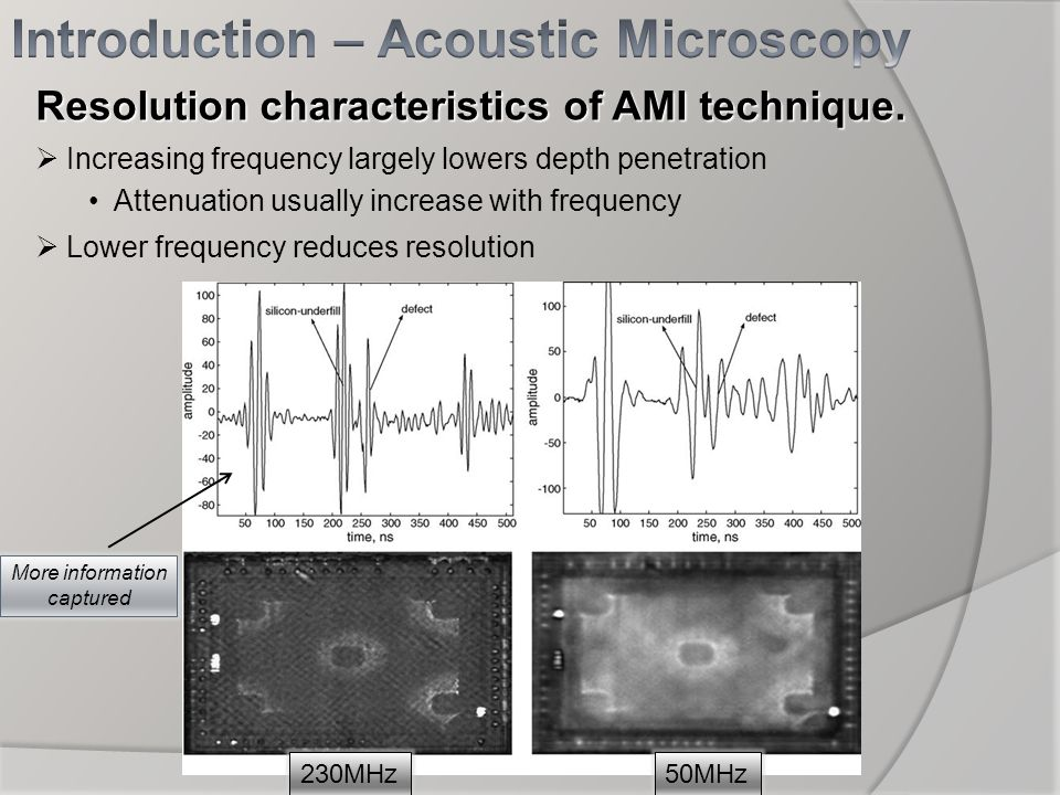 Resolution characteristics of AMI technique. Increasing frequency largely lowers depth penetration Attenuation usually increase with frequency Lower f