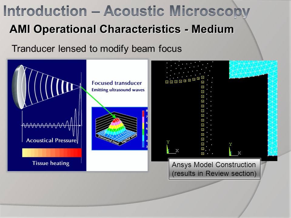 Tranducer lensed to modify beam focus Ansys Model Construction (results in Review section) AMI Operational Characteristics - Medium