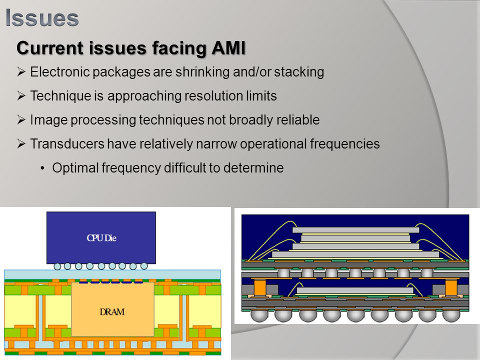 Current issues facing AMI Electronic packages are shrinking and/or stacking Technique is approaching resolution limits Image processing techniques not