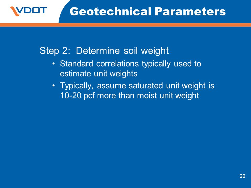 20 Geotechnical Parameters Step 2: Determine soil weight Standard correlations typically used to estimate unit weights Typically, assume saturated uni