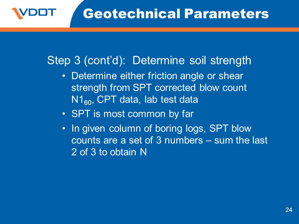 24 Geotechnical Parameters Step 3 (contd): Determine soil strength Determine either friction angle or shear strength from SPT corrected blow count N1