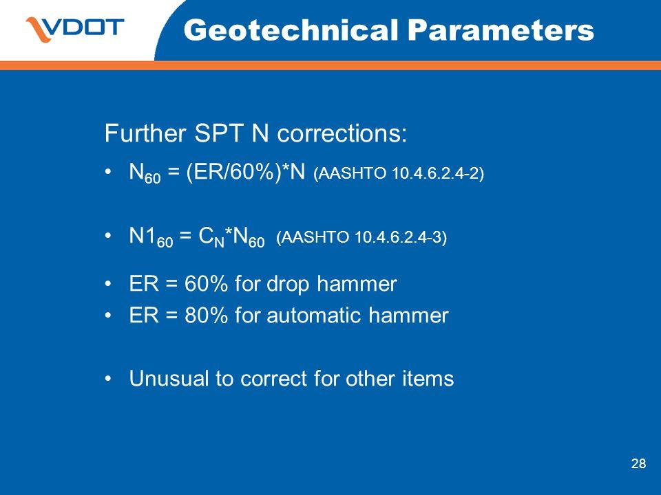 28 Geotechnical Parameters Further SPT N corrections: N 60 = (ER/60%)*N (AASHTO 10.4.6.2.4-2) N1 60 = C N *N 60 (AASHTO 10.4.6.2.4-3) ER = 60% for dro