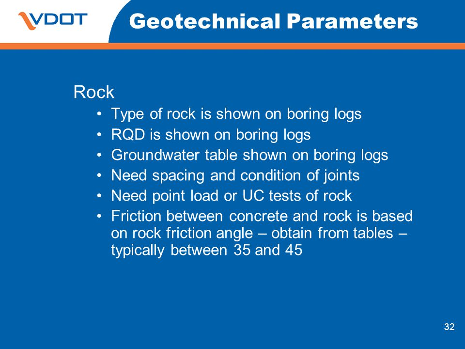 32 Geotechnical Parameters Rock Type of rock is shown on boring logs RQD is shown on boring logs Groundwater table shown on boring logs Need spacing a