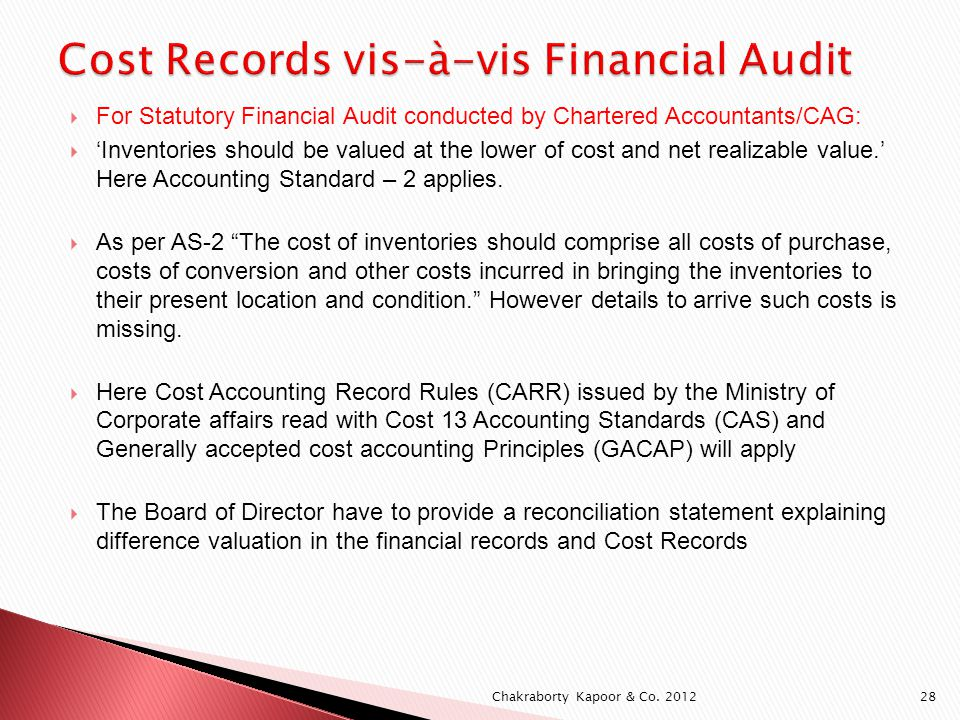 For Statutory Financial Audit conducted by Chartered Accountants/CAG: Inventories should be valued at the lower of cost and net realizable value.