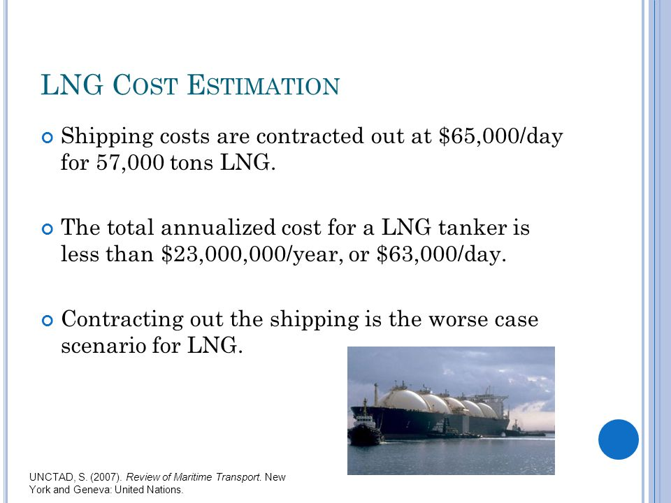 LNG C OST E STIMATION Shipping costs are contracted out at $65,000/day for 57,000 tons LNG.