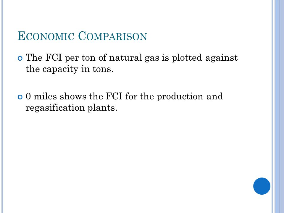E CONOMIC C OMPARISON The FCI per ton of natural gas is plotted against the capacity in tons.