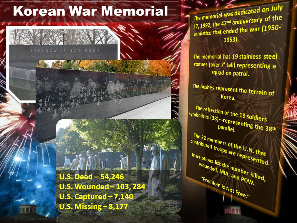 Korean War Memorial U.S.Dead – 54,246 U.S. Wounded – 103, 284 U.S.