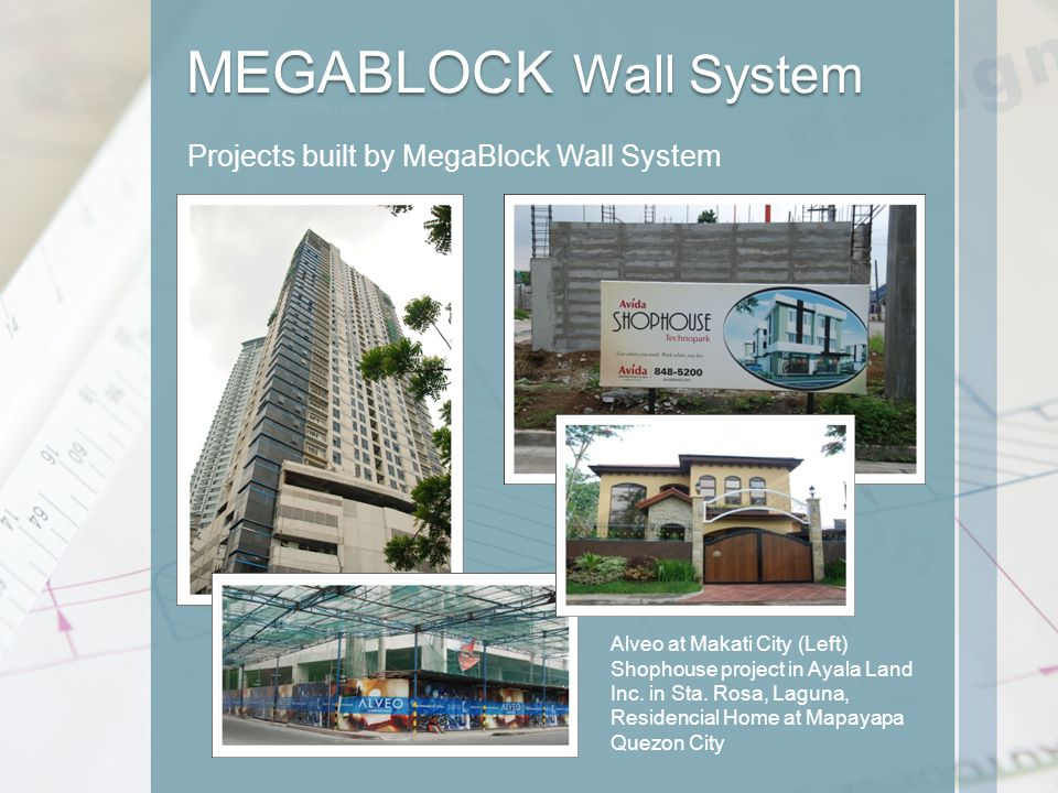 Projects built by MegaBlock Wall System Alveo at Makati City (Left) Shophouse project in Ayala Land Inc.
