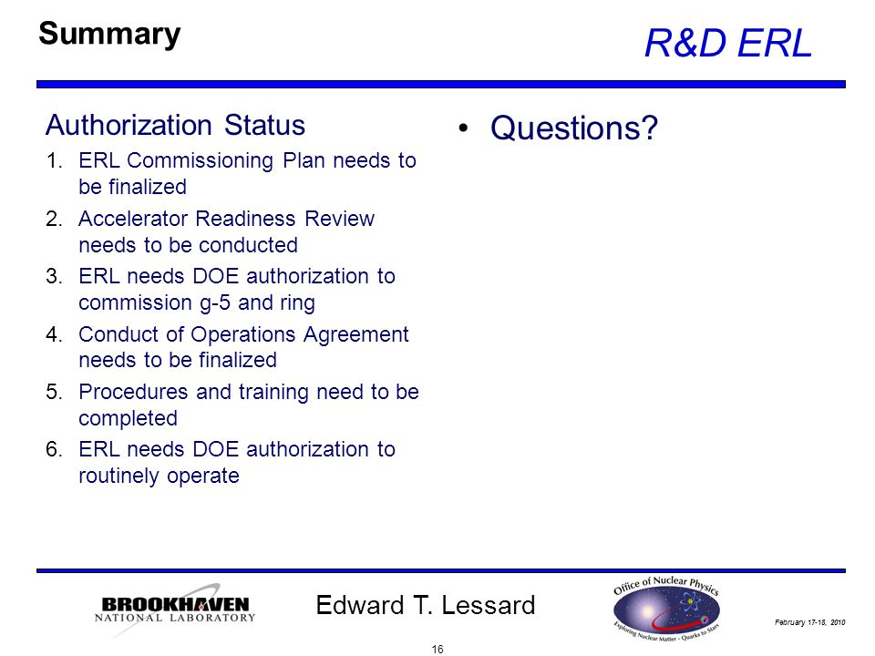 February 17-18, 2010 R&D ERL Edward T.