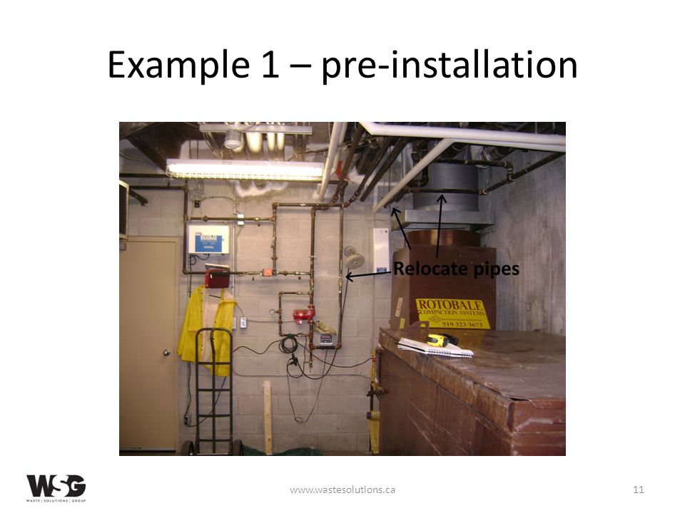 Example 1 – pre-installation www.wastesolutions.ca11