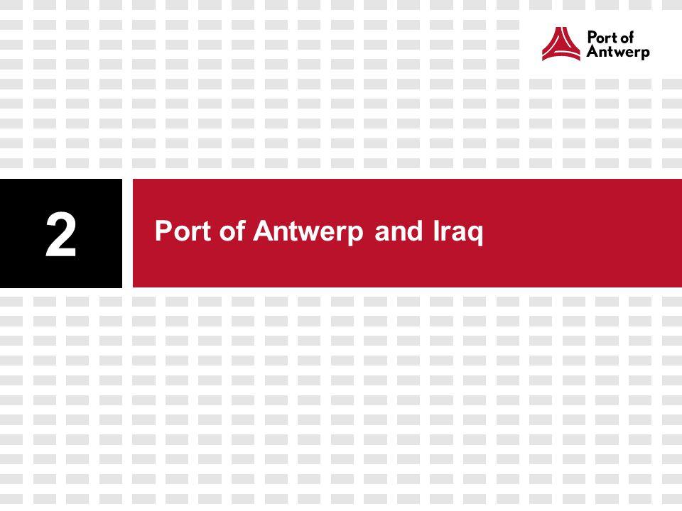 Direct maritime traffic Port of Antwerp – Iraqi ports Direct maritime traffic is only a fraction of the total maritime traffic between Iraq and port of Antwerp Maritime traffic Iraq from Antwerp transships also via: -Turkish ports -Red Sea ports -Arabian Gulf ports Al-Faw (IQ FAO)