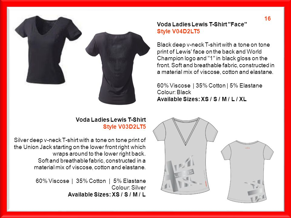 Voda Ladies Lewis T-Shirt Face Style V04D2LT5 Black deep v-neck T-shirt with a tone on tone print of Lewis face on the back and World Champion logo and 1 in black gloss on the front.