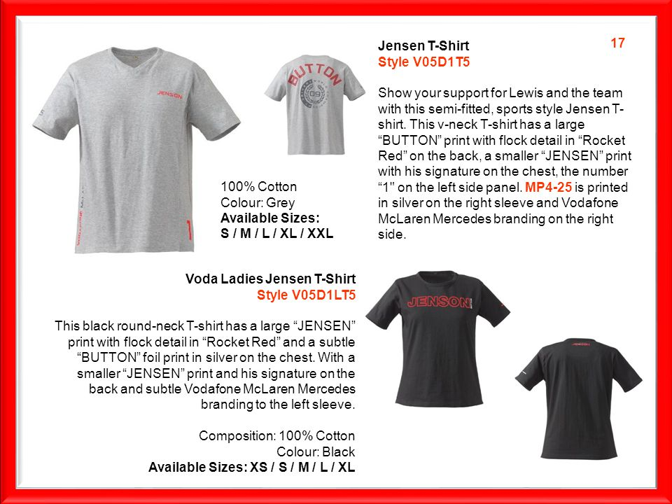 Jensen T-Shirt Style V05D1T5 Show your support for Lewis and the team with this semi-fitted, sports style Jensen T- shirt.