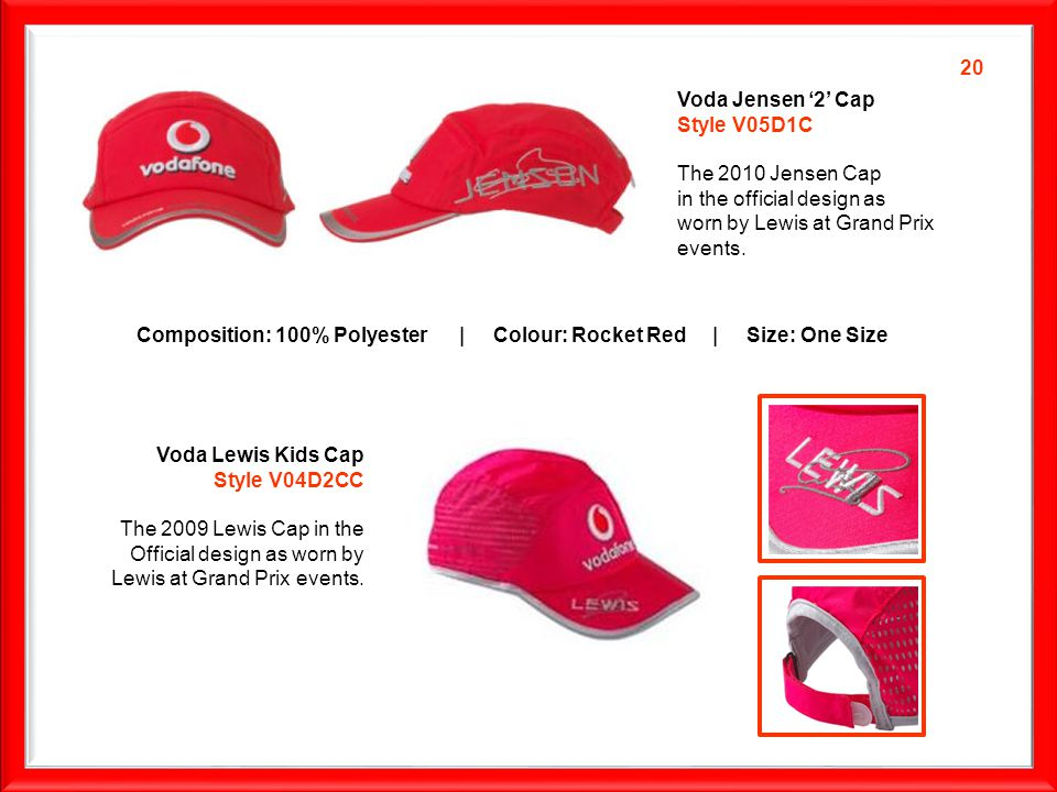 Voda Jensen 2 Cap Style V05D1C The 2010 Jensen Cap in the official design as worn by Lewis at Grand Prix events.