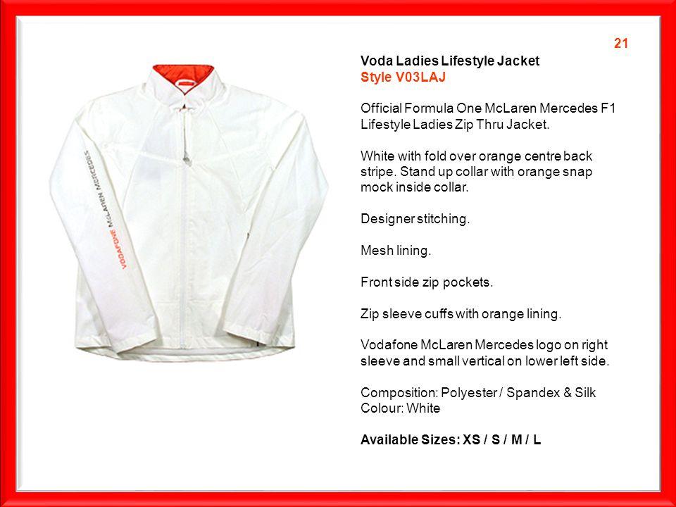 Voda Ladies Lifestyle Jacket Style V03LAJ Official Formula One McLaren Mercedes F1 Lifestyle Ladies Zip Thru Jacket.