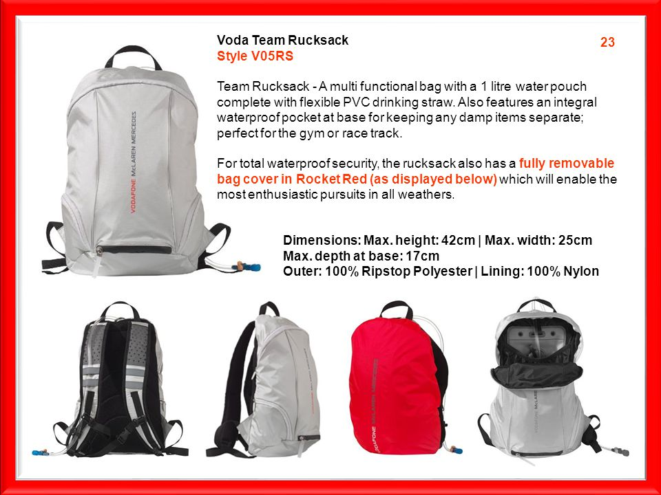 Voda Team Rucksack Style V05RS Team Rucksack - A multi functional bag with a 1 litre water pouch complete with flexible PVC drinking straw.