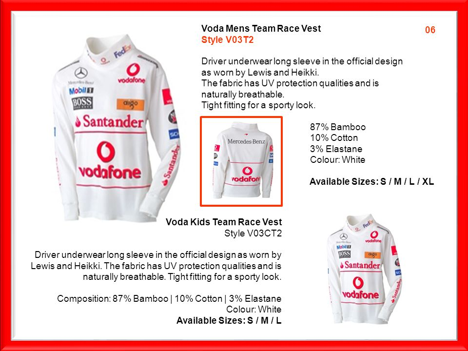 Voda Mens Team Race Vest Style V03T2 Driver underwear long sleeve in the official design as worn by Lewis and Heikki.