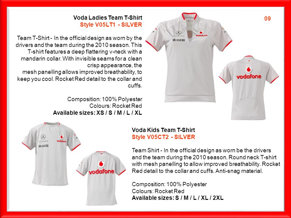 Voda Ladies Team T-Shirt Style V04LRRT1 The Team Victory T-shirt in the official design as worn by the team after winning a Grand Prix.