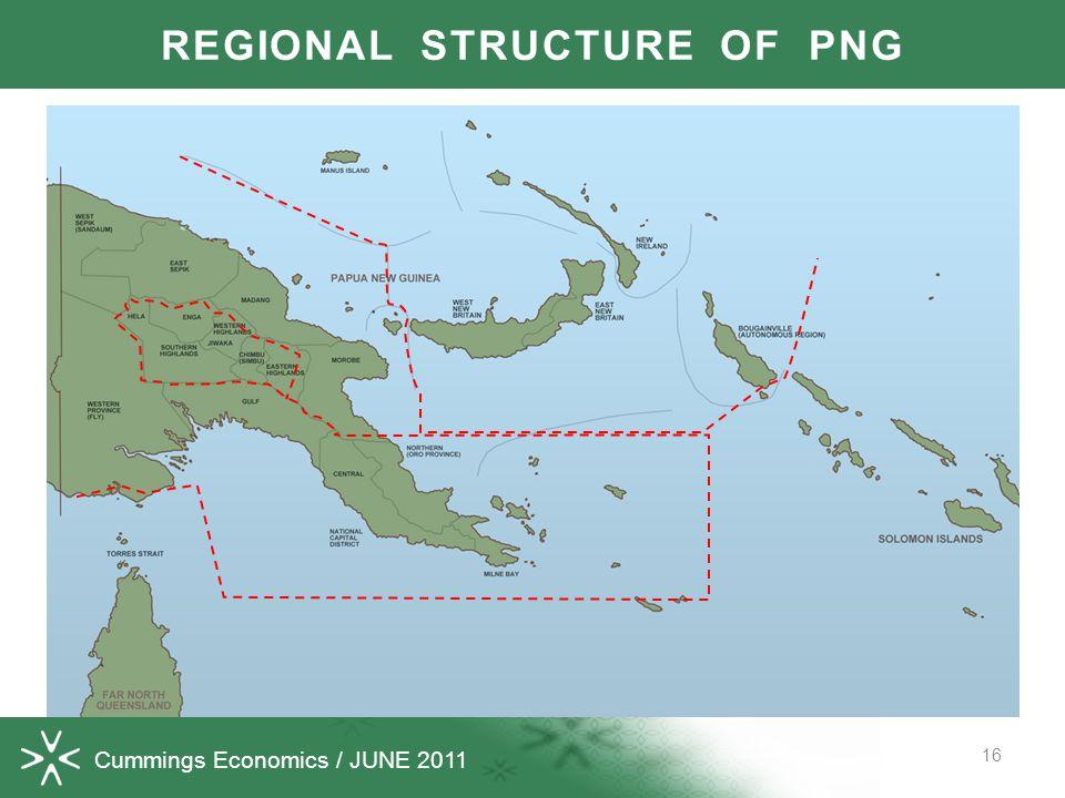 Cummings Economics / JUNE 2011 16 REGIONAL STRUCTURE OF PNG
