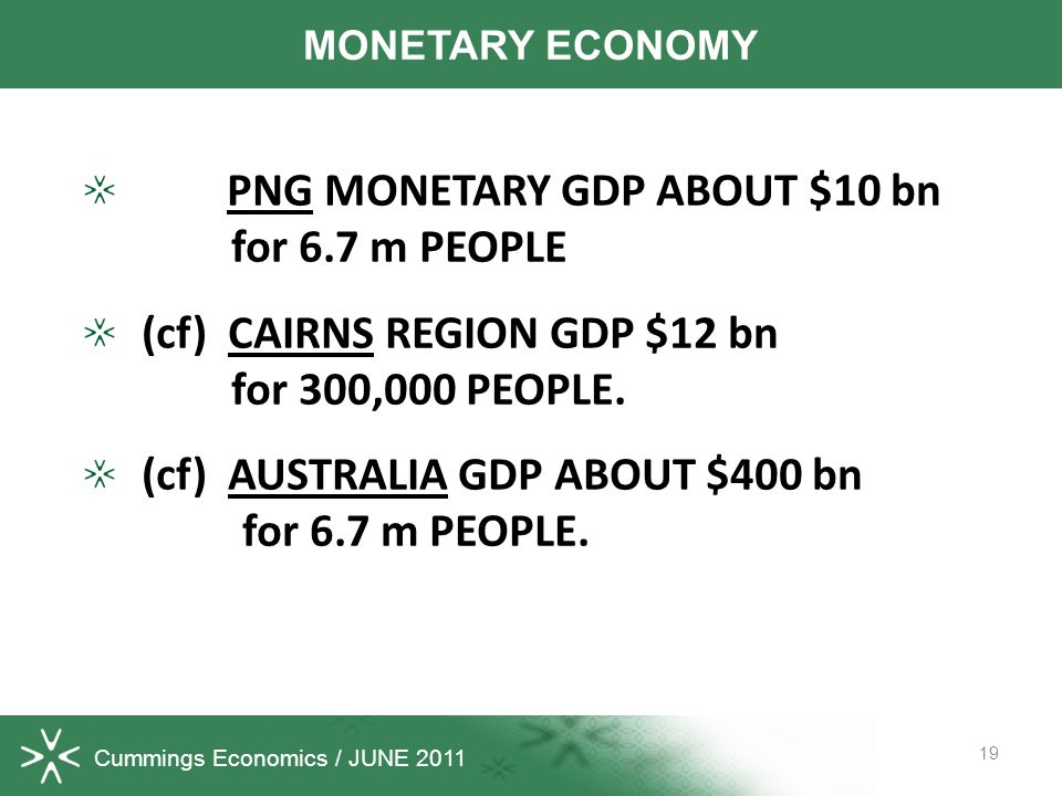 Cummings Economics / JUNE 2011 PNG MONETARY GDP ABOUT $10 bn for 6.7 m PEOPLE (cf) CAIRNS REGION GDP $12 bn for 300,000 PEOPLE.