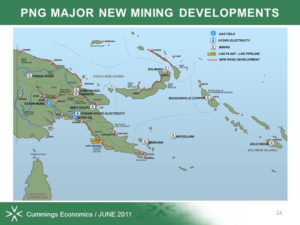 Cummings Economics / JUNE 2011 24 PNG MAJOR NEW MINING DEVELOPMENTS