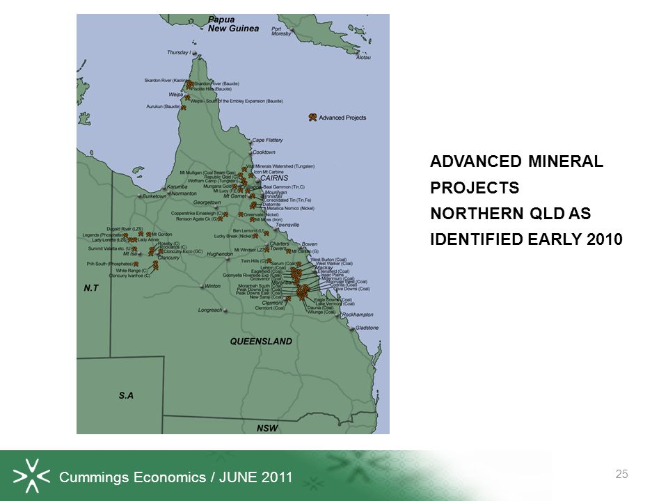 Cummings Economics / JUNE 2011 25 ADVANCED MINERAL PROJECTS NORTHERN QLD AS IDENTIFIED EARLY 2010