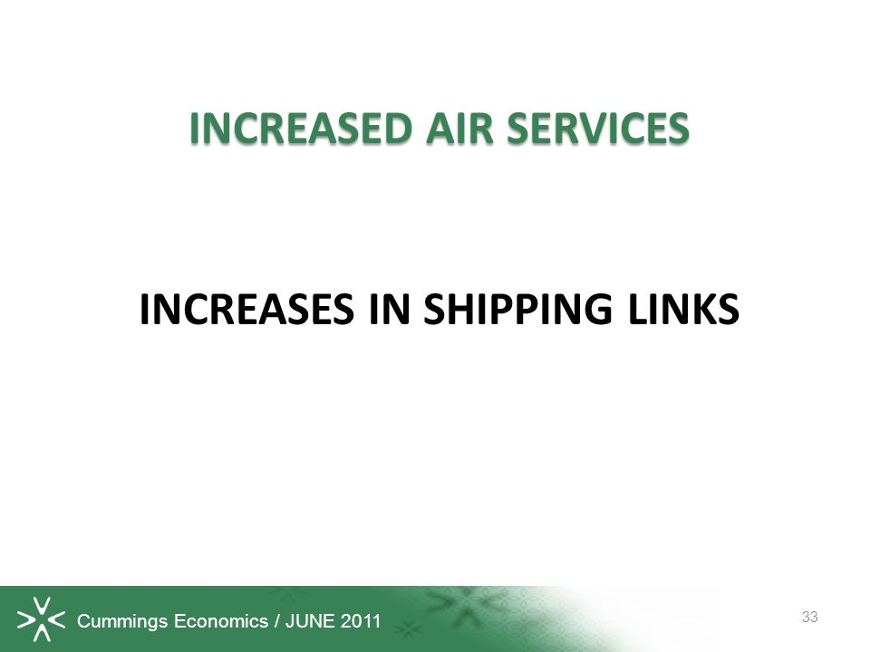 Cummings Economics / JUNE 2011 INCREASED AIR SERVICES INCREASES IN SHIPPING LINKS 33