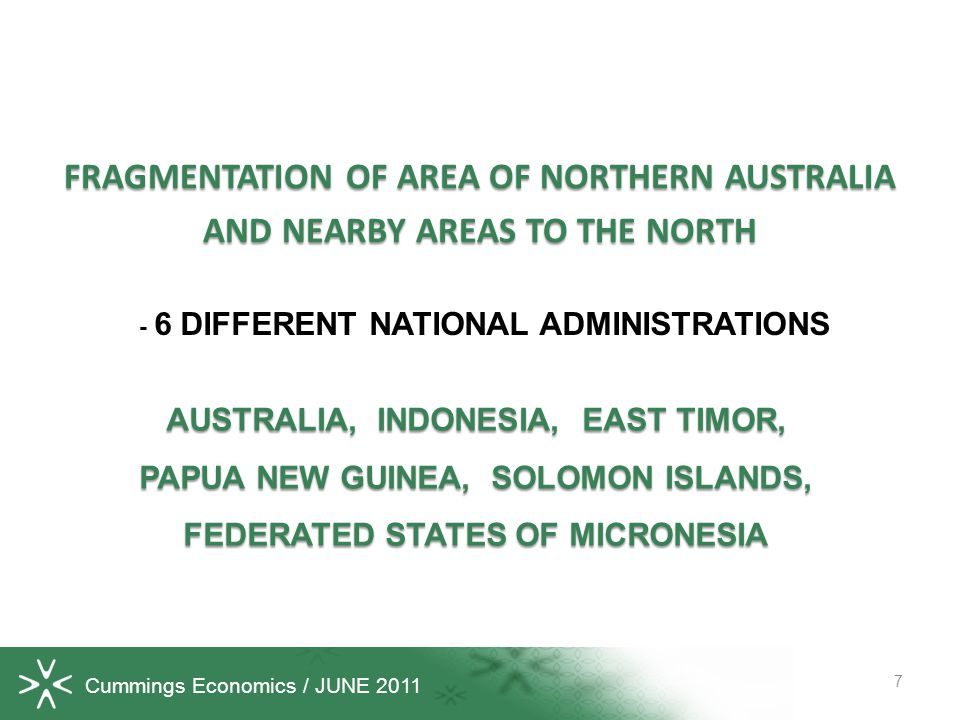Cummings Economics / JUNE 2011 FRAGMENTATION OF AREA OF NORTHERN AUSTRALIA AND NEARBY AREAS TO THE NORTH 7 AUSTRALIA, INDONESIA, EAST TIMOR, PAPUA NEW GUINEA, SOLOMON ISLANDS, FEDERATED STATES OF MICRONESIA - 6 DIFFERENT NATIONAL ADMINISTRATIONS