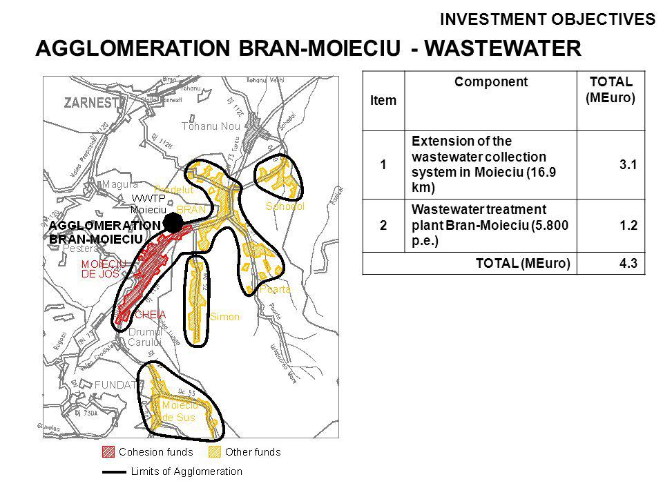 INVESTMENT OBJECTIVES Item Component TOTAL (MEuro) 1Cluster Brasov – Water (except Codlea)42.4 107.5 2Cluster Brasov – Wastewater (except Codlea)65.1 3Agglomeration Codlea - Water5.9 14.6 4Agglomeration Codlea - Wastewater8.7 5Agglomeration Rupea - Water6.9 19.5 6Agglomeration Rupea - Wastewater12.6 7Agglomeration Prejmer - Water3.2 12.3 8Agglomeration Prejmer - Wastewater9.1 9Agglomeration Bran-Moieciu - Water2.8 7.1 10Agglomeration Bran-Moieciu - Wastewater4.3 TOTAL (MEuro)161.0