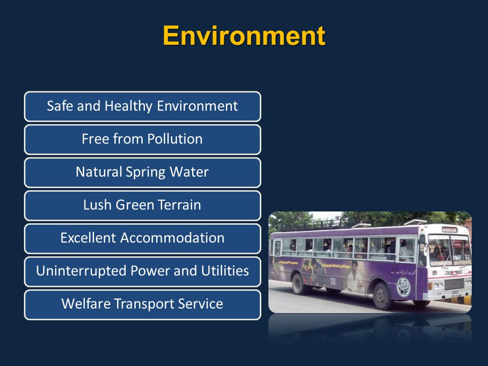 Environment Safe and Healthy EnvironmentFree from PollutionNatural Spring WaterLush Green TerrainExcellent AccommodationUninterrupted Power and Utilit