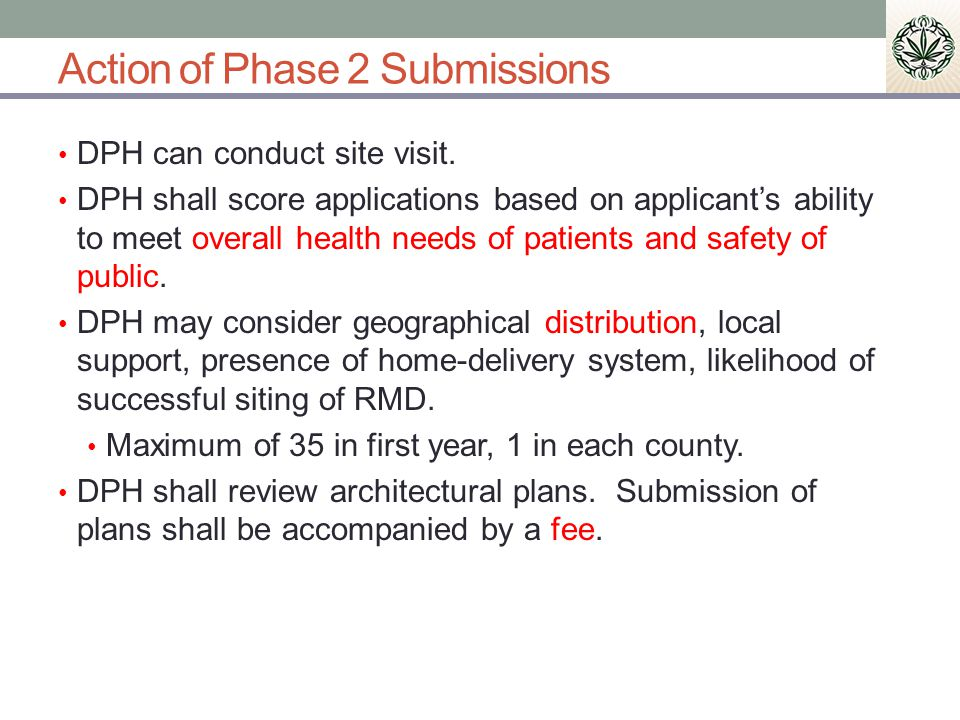 Action of Phase 2 Submissions DPH can conduct site visit.