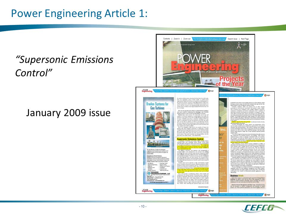 - 10 - Supersonic Emissions Control January 2009 issue Power Engineering Article 1: