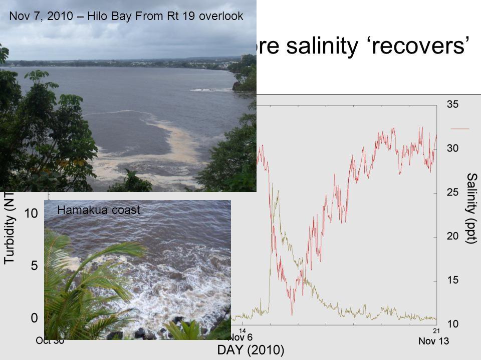 Turbidity subsides before salinity recovers Nov 7, 2010 – Hilo Bay From Rt 19 overlook Hamakua coast