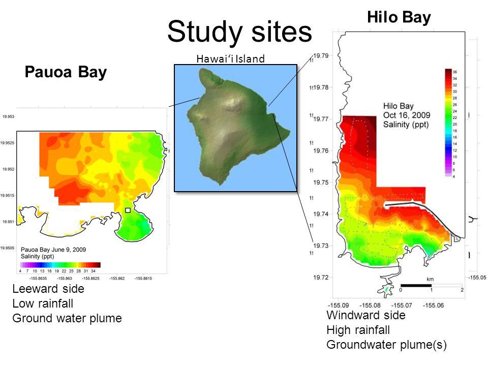 Study sites Pauoa Bay (W. Hawaii) Hilo Bay (E. Hawaii) 1 km 100 m Leeward side Low rainfall Ground water plume Windward side High rainfall Groundwater