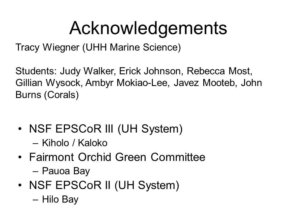Acknowledgements NSF EPSCoR III (UH System) –Kiholo / Kaloko Fairmont Orchid Green Committee –Pauoa Bay NSF EPSCoR II (UH System) –Hilo Bay Tracy Wieg