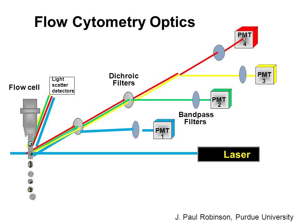 PMT Dichroic Filters Bandpass Filters Flow Cytometry Optics Laser 1 2 3 4 Flow cell J. Paul Robinson, Purdue University Light scatter detectors