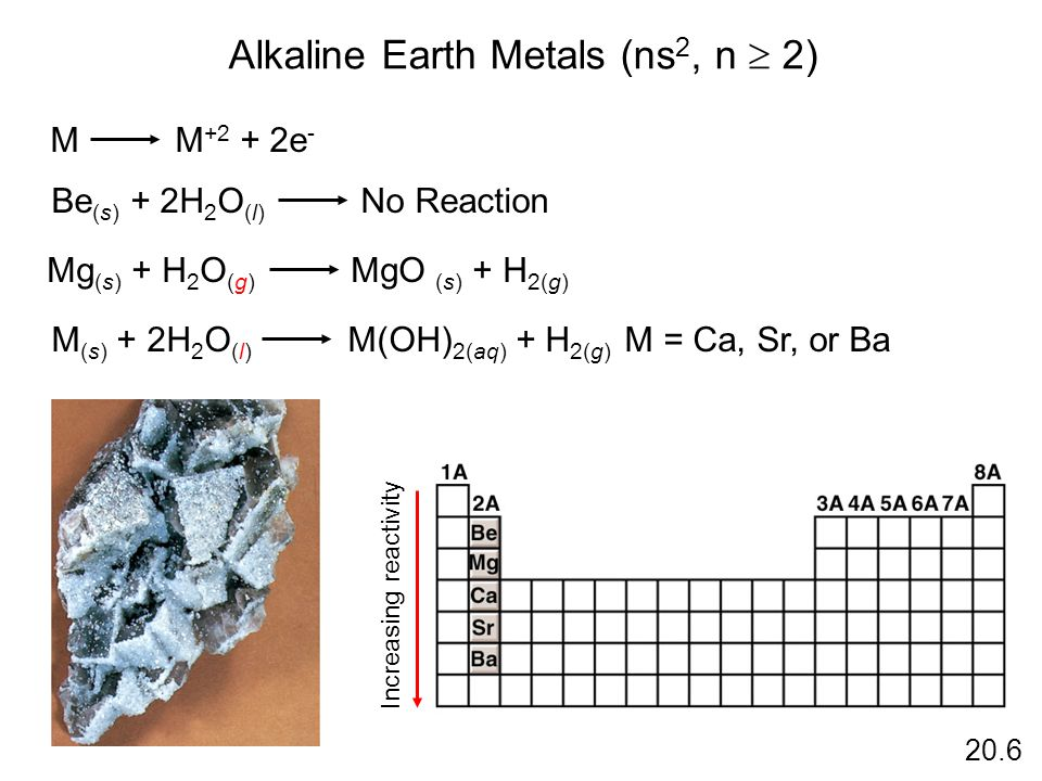 Alkaline Earth Metals (ns 2, n 2) M M +2 + 2e - Be (s) + 2H 2 O (l) No Reaction Increasing reactivity Mg (s) + H 2 O (g) MgO (s) + H 2(g) M (s) + 2H 2