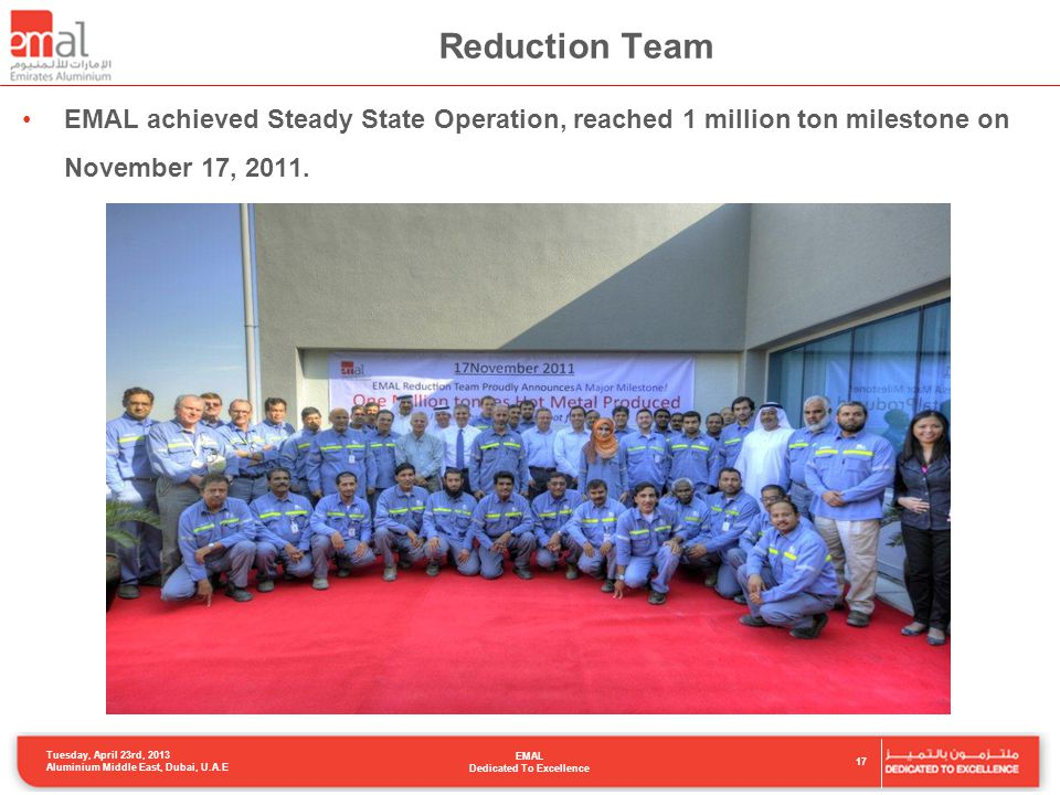 Reduction Team EMAL achieved Steady State Operation, reached 1 million ton milestone on November 17, 2011.
