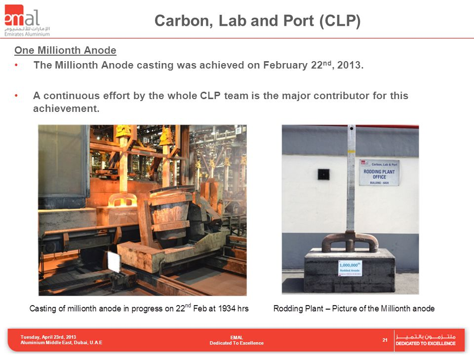 Carbon, Lab and Port (CLP) One Millionth Anode The Millionth Anode casting was achieved on February 22 nd, 2013.