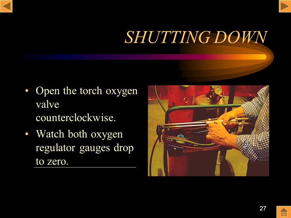 27 SHUTTING DOWN Open the torch oxygen valve counterclockwise. Watch both oxygen regulator gauges drop to zero.