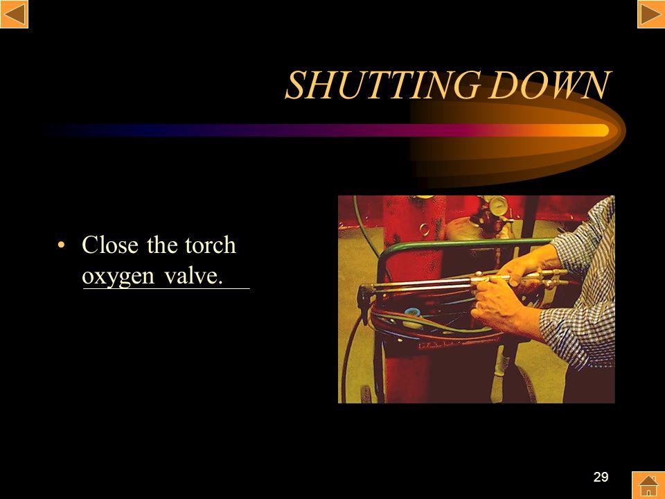 29 SHUTTING DOWN Close the torch oxygen valve.