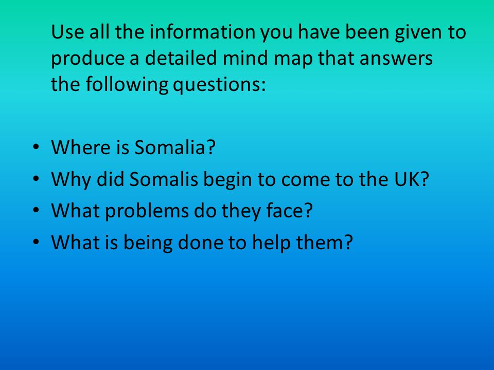 Use all the information you have been given to produce a detailed mind map that answers the following questions: Where is Somalia.