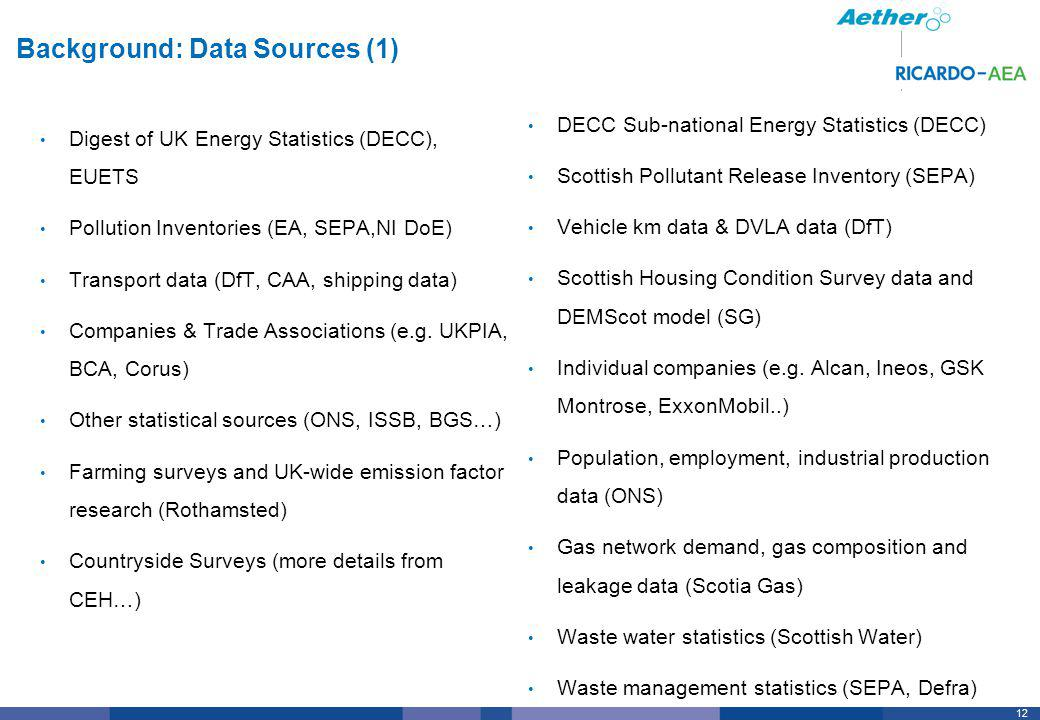 12 Background: Data Sources (1) Digest of UK Energy Statistics (DECC), EUETS Pollution Inventories (EA, SEPA,NI DoE) Transport data (DfT, CAA, shipping data) Companies & Trade Associations (e.g.