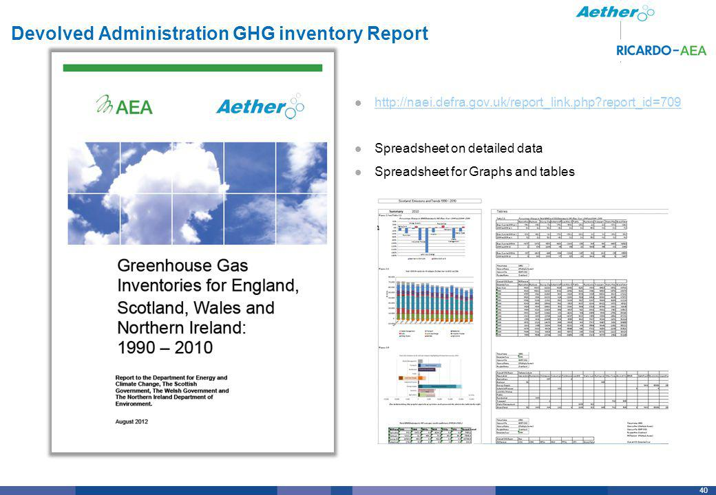 40 Devolved Administration GHG inventory Report http://naei.defra.gov.uk/report_link.php report_id=709 Spreadsheet on detailed data Spreadsheet for Graphs and tables
