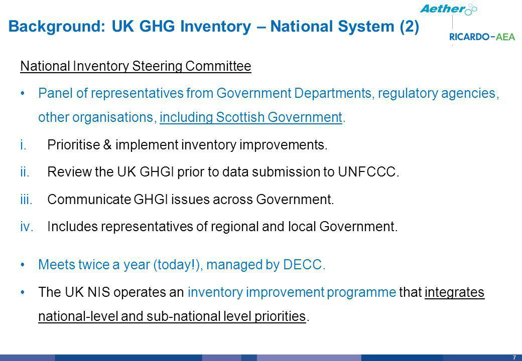 8 8 Background: DA (Scottish) GHG Inventory Compilation Approach