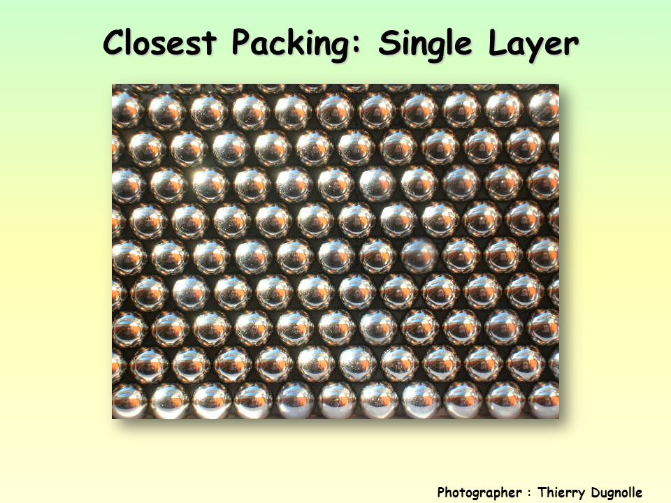 Closest Packing: Single Layer Photographer : Thierry Dugnolle