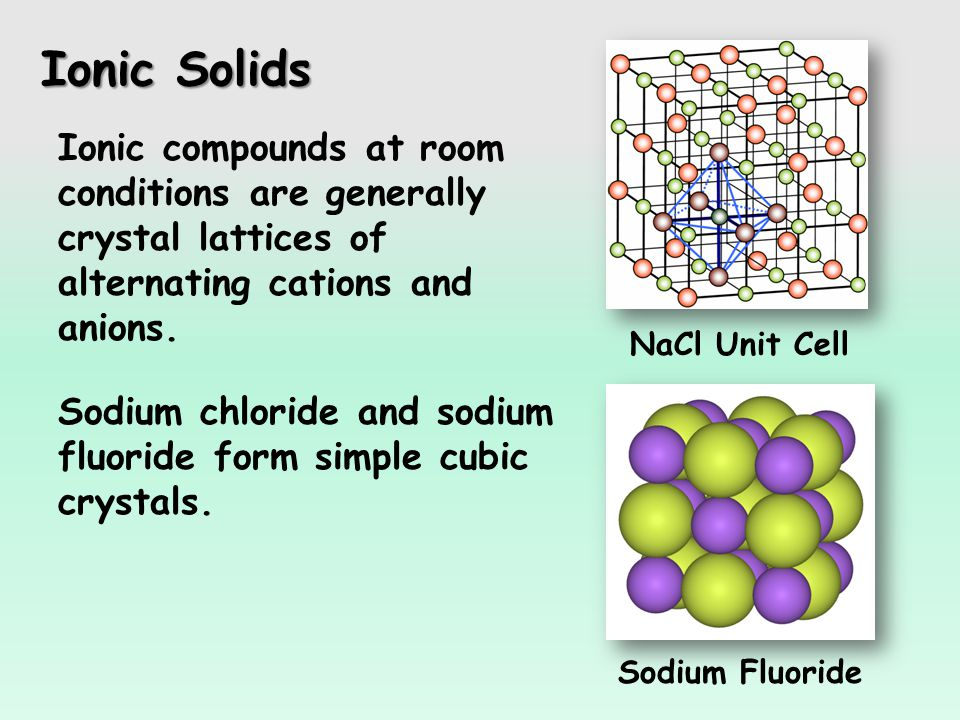 Ionic Solids Sodium Fluoride Ionic compounds at room conditions are generally crystal lattices of alternating cations and anions.