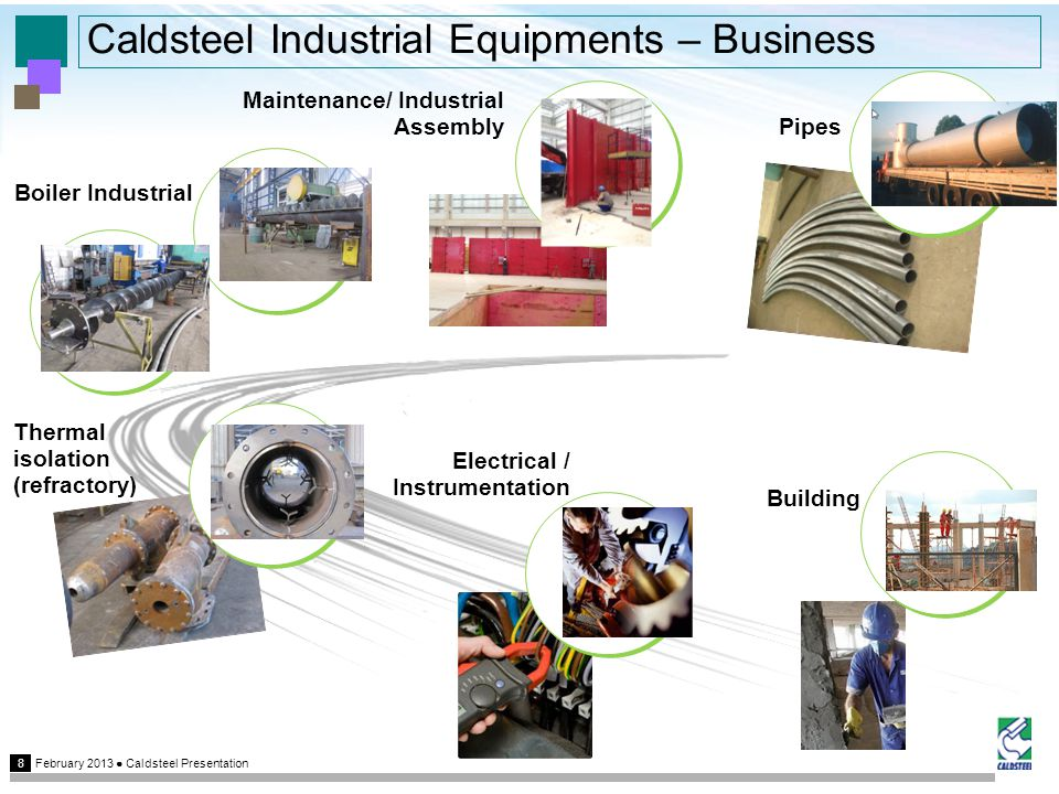 February 2013 Caldsteel Presentation 8 Caldsteel Industrial Equipments – Business Pipes Electrical / Instrumentation Building Maintenance/ Industrial Assembly Thermal isolation (refractory) Boiler Industrial